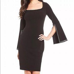 Calvin Klein Slit Embellished Cuff Sheath Dress